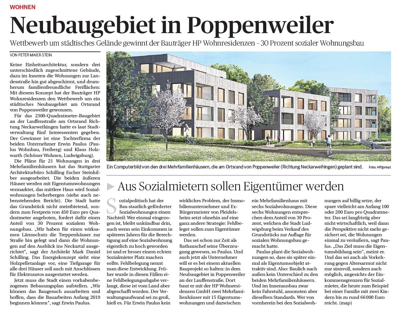 Neubaugebiet In Poppenweiler Paulus Wohnbau Stadtwohnungen